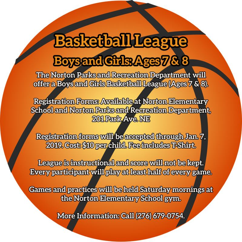 Photo of flyer offering information about a youth basketball league