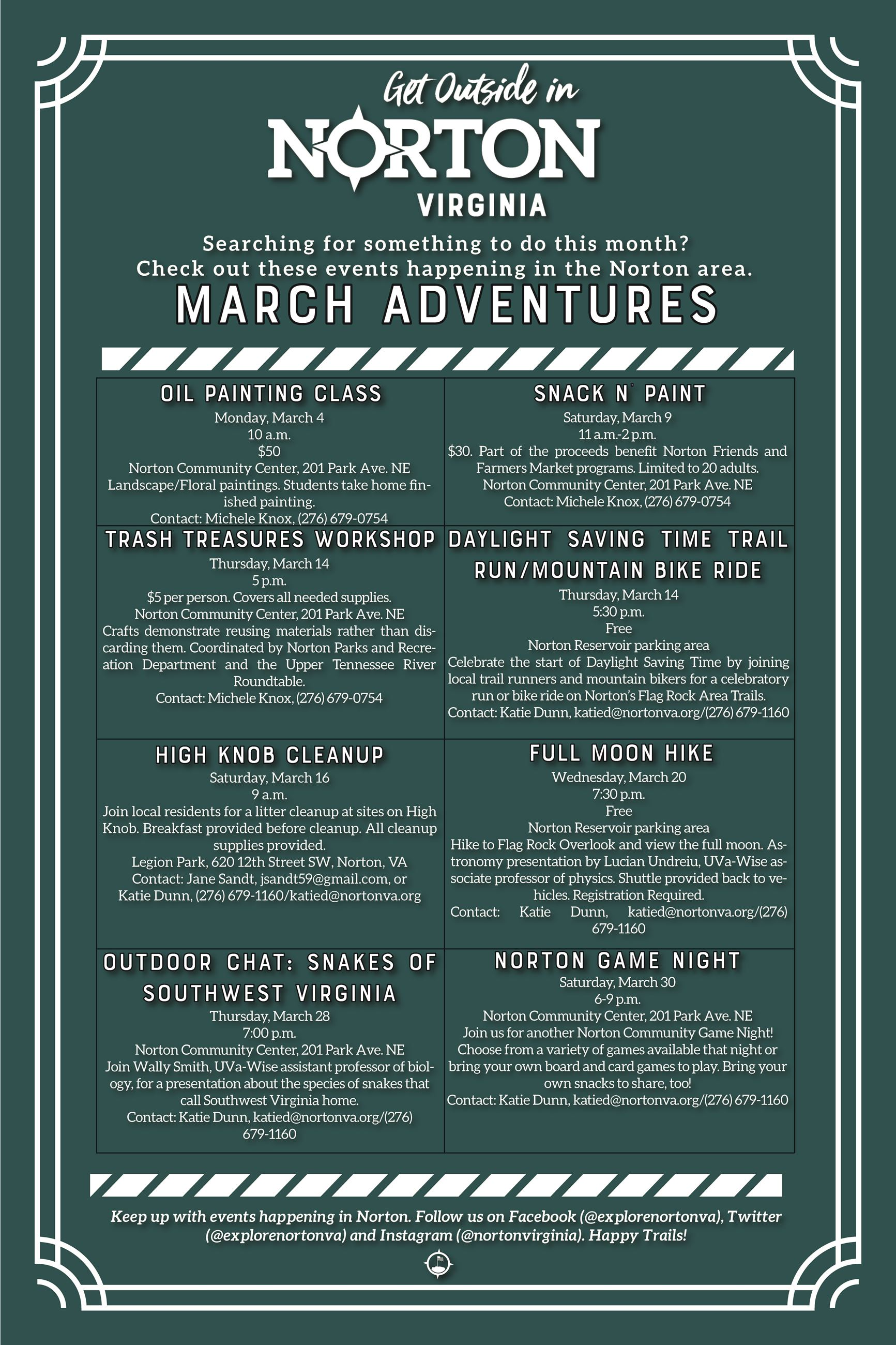 Photo of a flyer detailing events happening in Norton in March 2019
