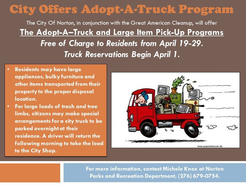 Photo of a flyer advertising a city Adopt-A-Truck program