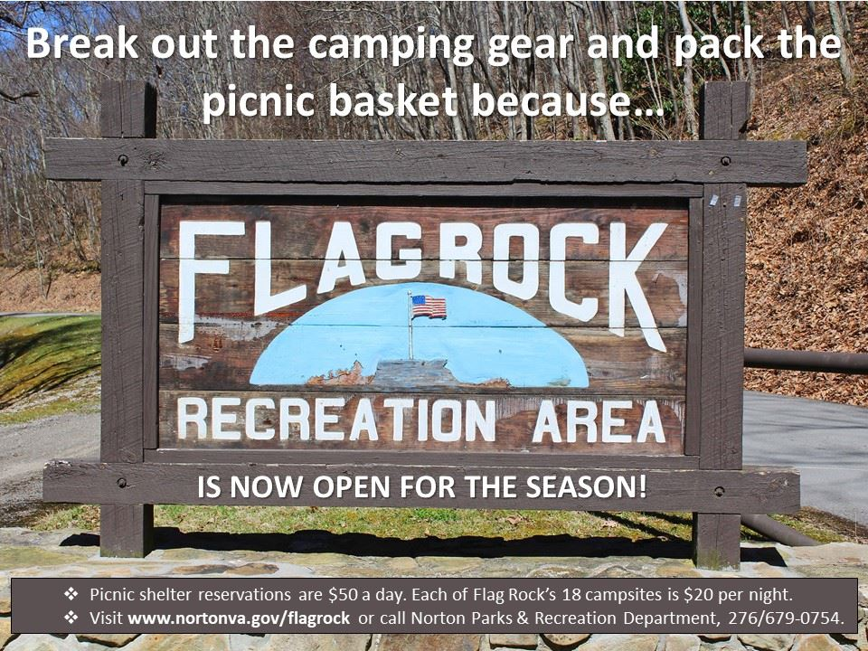 Photo of Flag Rock sign announcing opening of campground for the spring season
