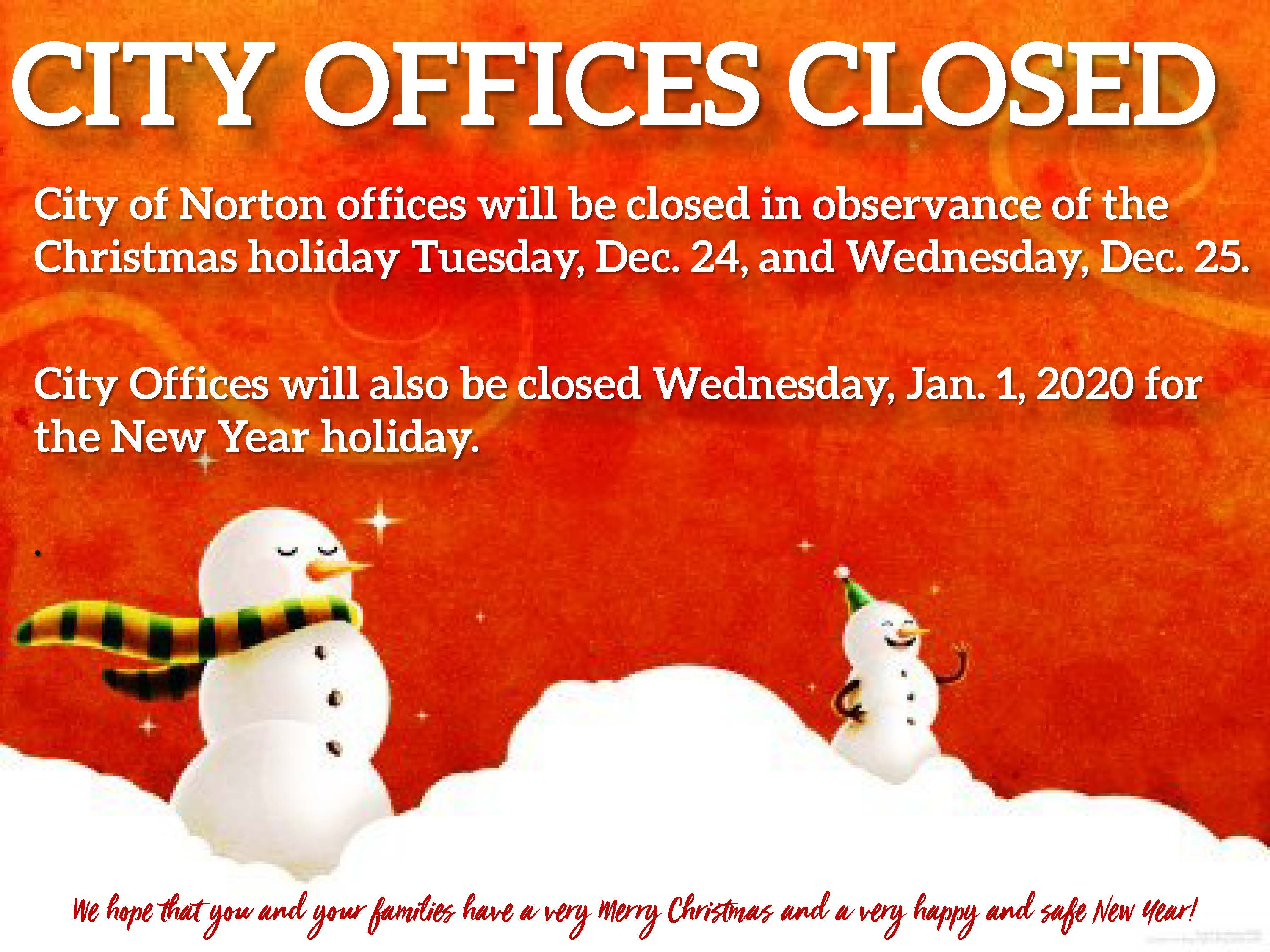 Office Closed Monday And Tuesday For Christmas 2020 Norton, VA   Official Website