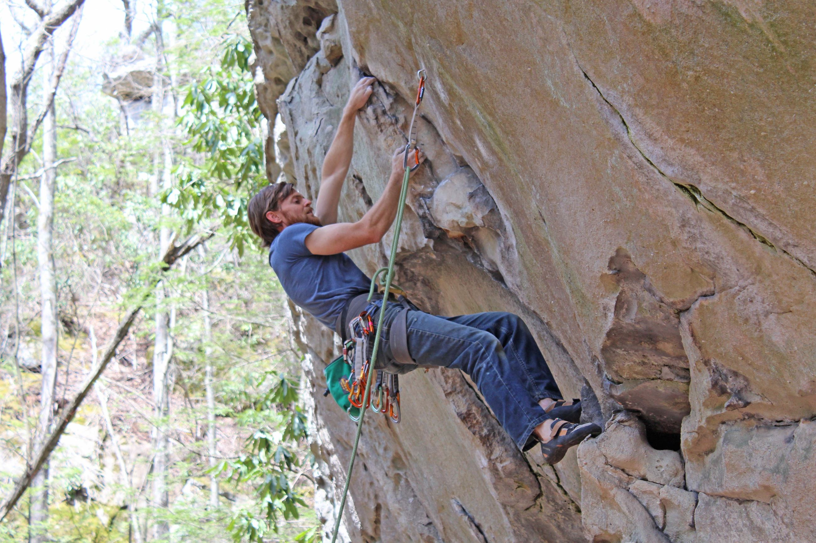 Rock climber at The Sanctuary in Flag Rock Recreation Area