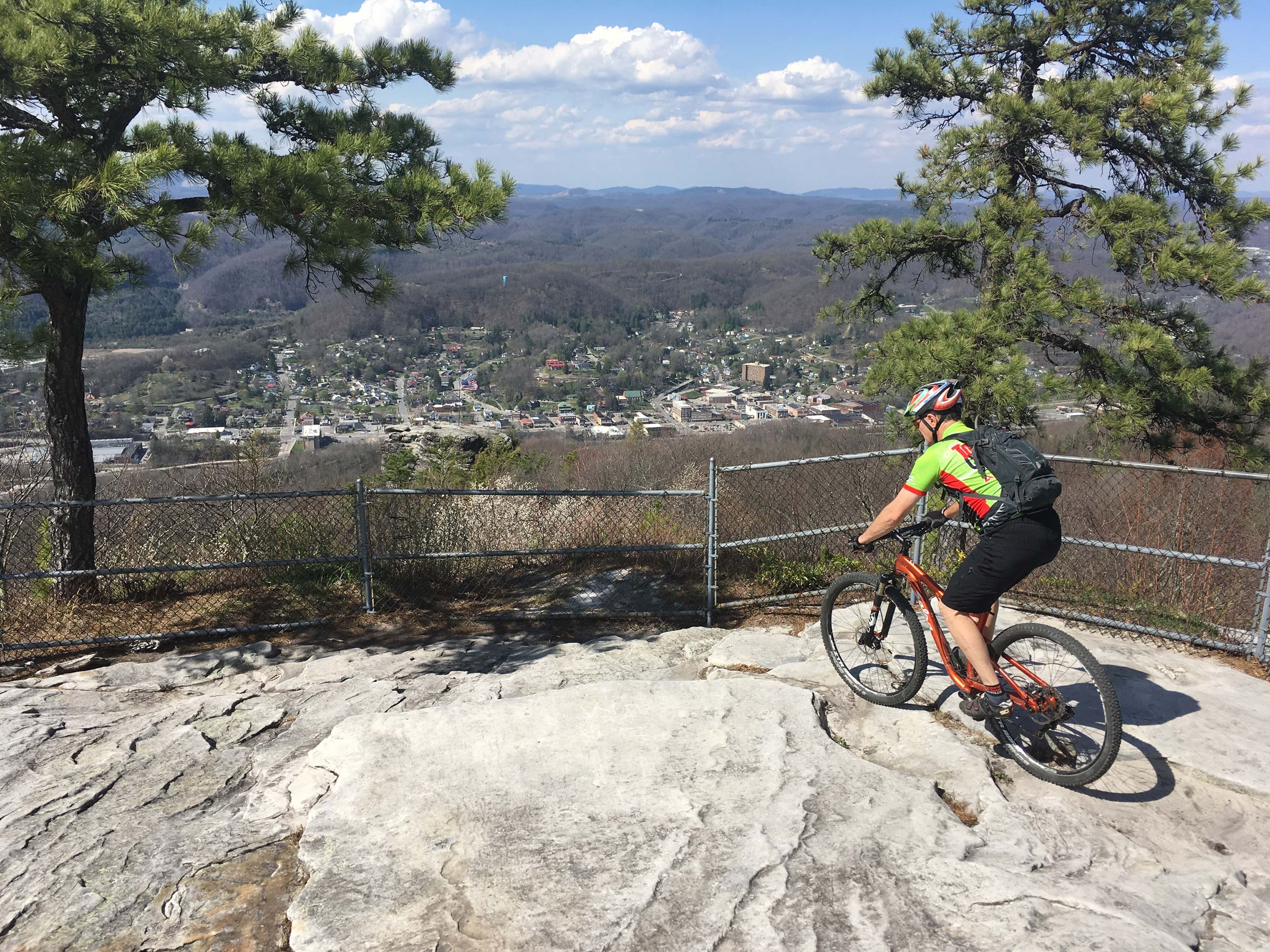 Mountain biker at Flag Rock Overlook