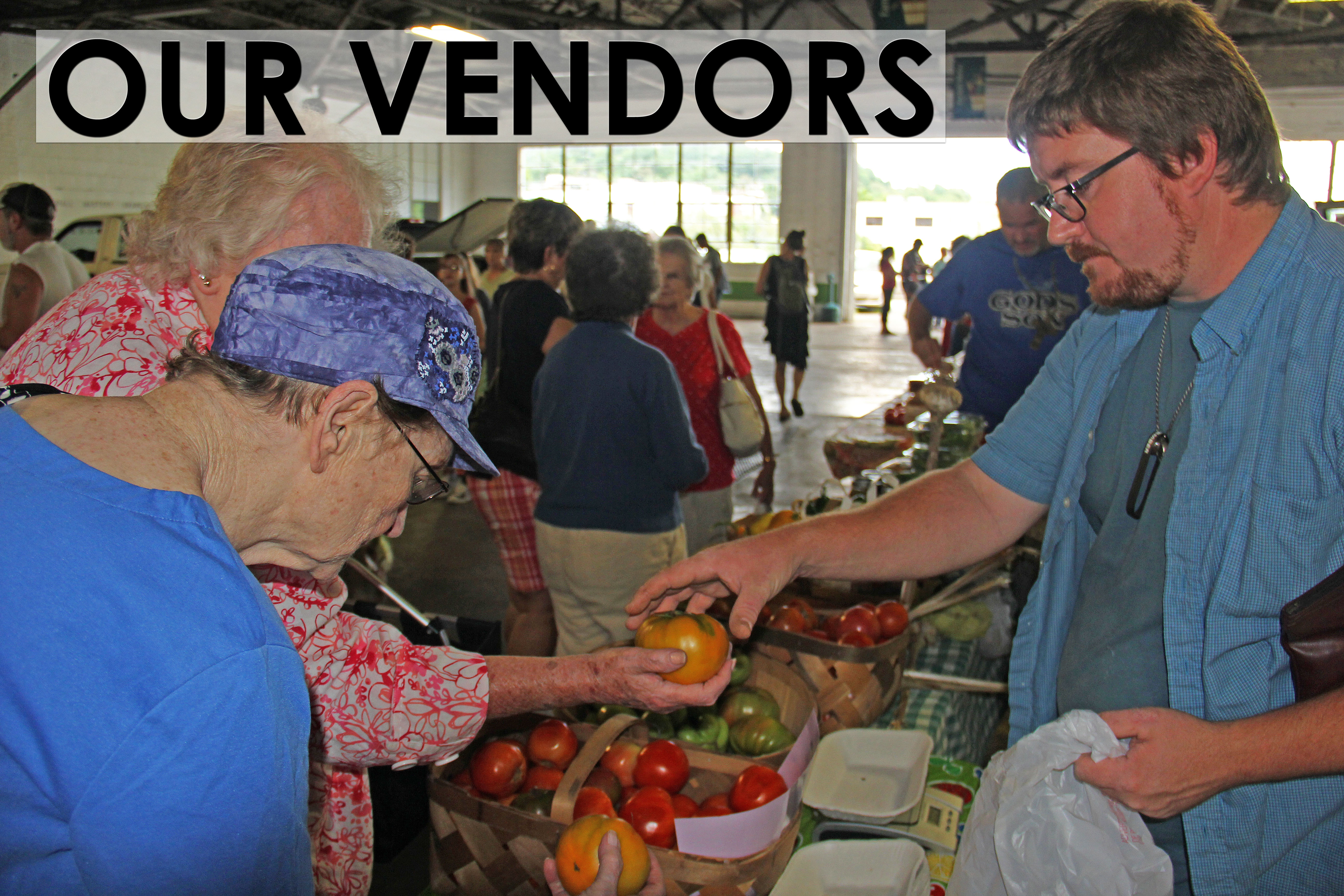 Picture of farmers market vendor and customers